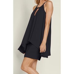 Mini Little Black Shift Dress With Flowing Overlay